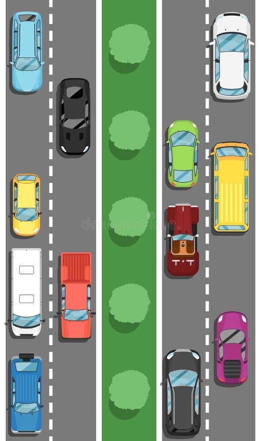 Autostrada ruch drogowy w godzina szczytu plakacie w mieszkanie stylu ilustracja wektor