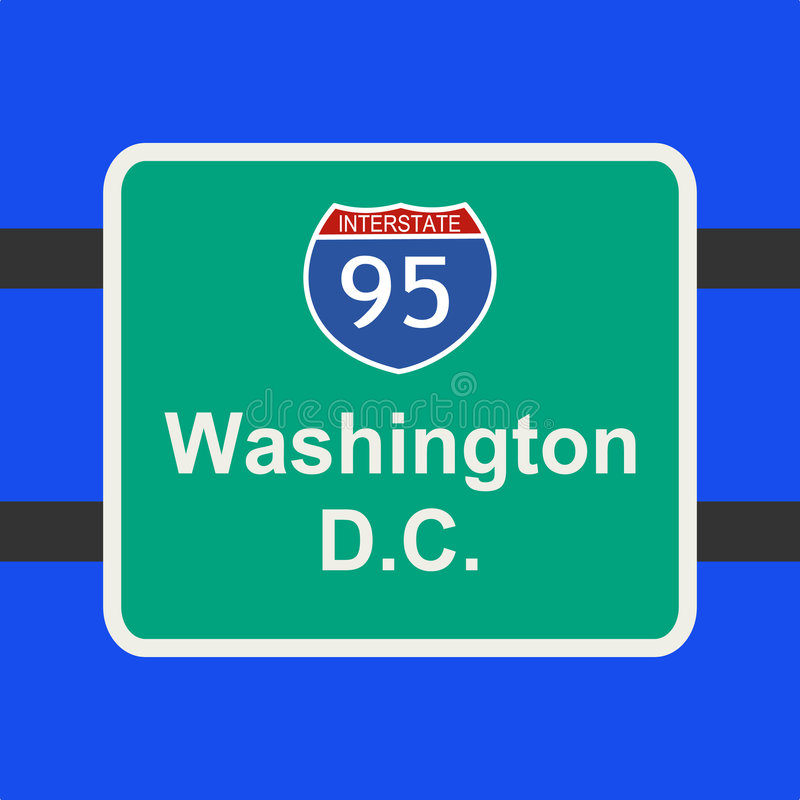Autostrada senza pedaggio al segno del Washington DC illustrazione di stock