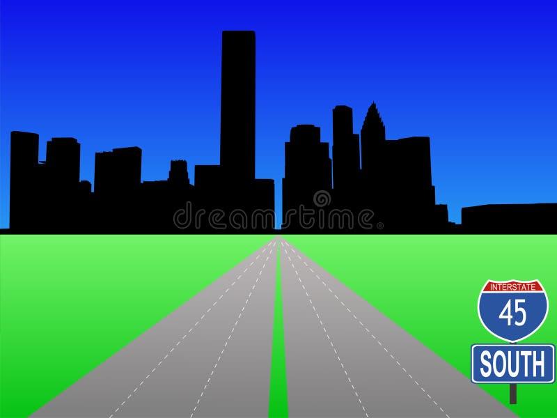 Autostrada senza pedaggio che piombo ad Houston illustrazione vettoriale