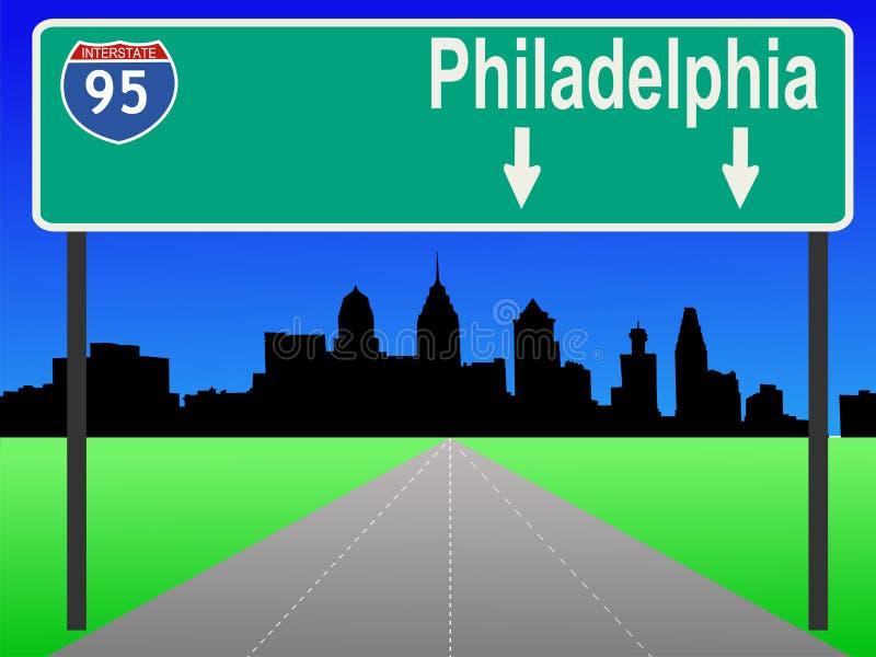 Autostrada senza pedaggio a Philadelphia illustrazione vettoriale