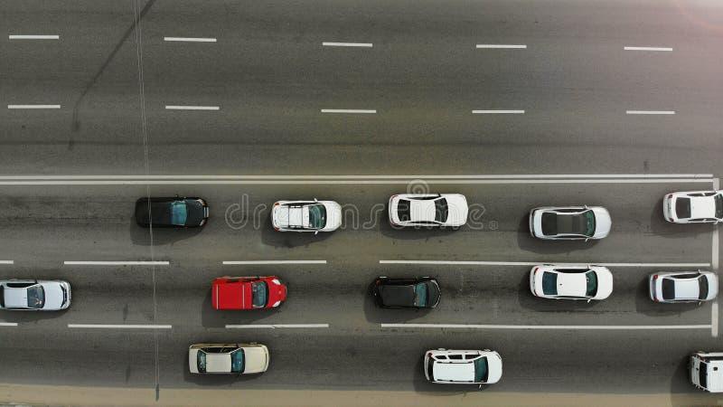 Autostrada z samochód anteną, odgórny widok obrazy stock