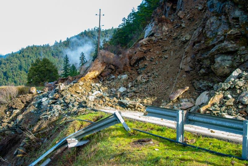 Autostrada Zamykający Rockowy obruszenie Naprzód obraz stock