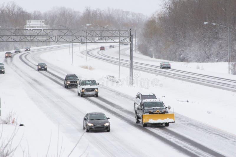 autostrada zimy ruchu zdjęcie royalty free