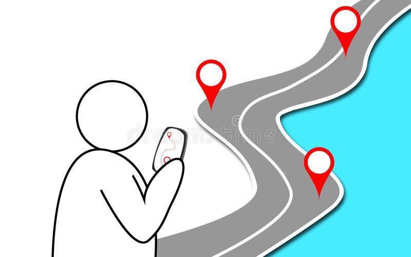 Autostrady droga z GPS znakiem na nim ilustracji