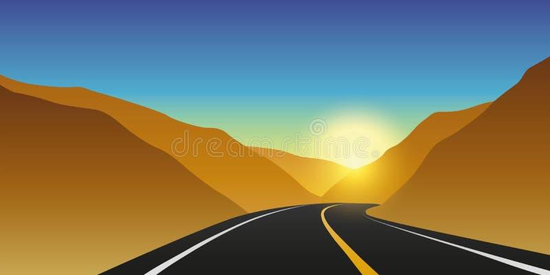 Autostrady halna droga przy wschód słońca jesieni krajobrazem royalty ilustracja