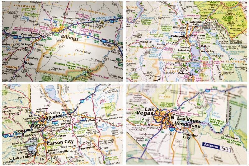 Autostrady mapy droga Ameryka zdjęcie stock