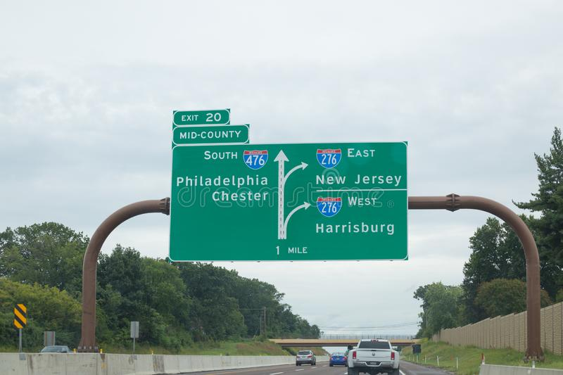 Autostrady międzystanowej 476 drogowy znak zdjęcie stock