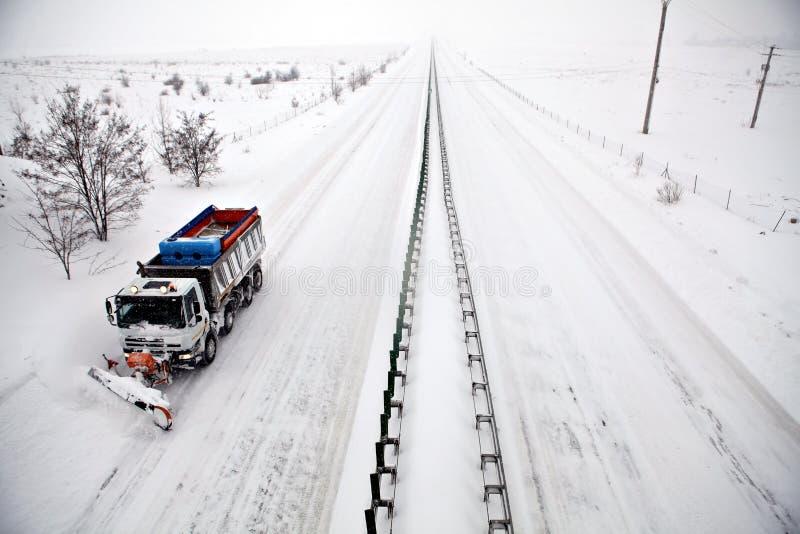 autostrady pługu śnieg fotografia royalty free