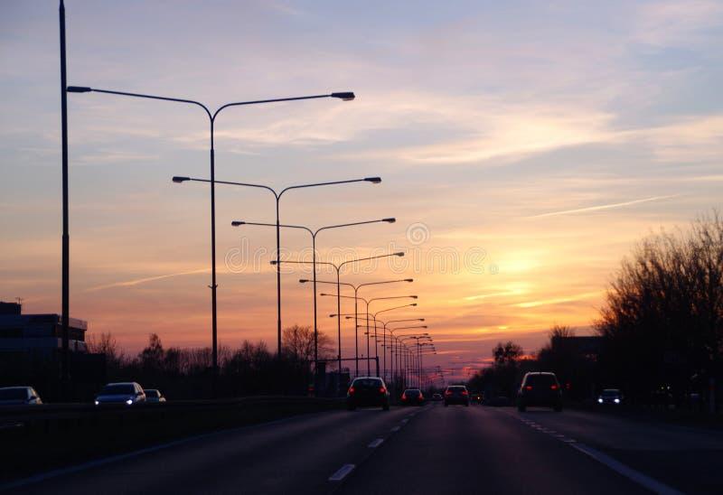 autostrady zmierzchu odg?rny widok zdjęcia royalty free