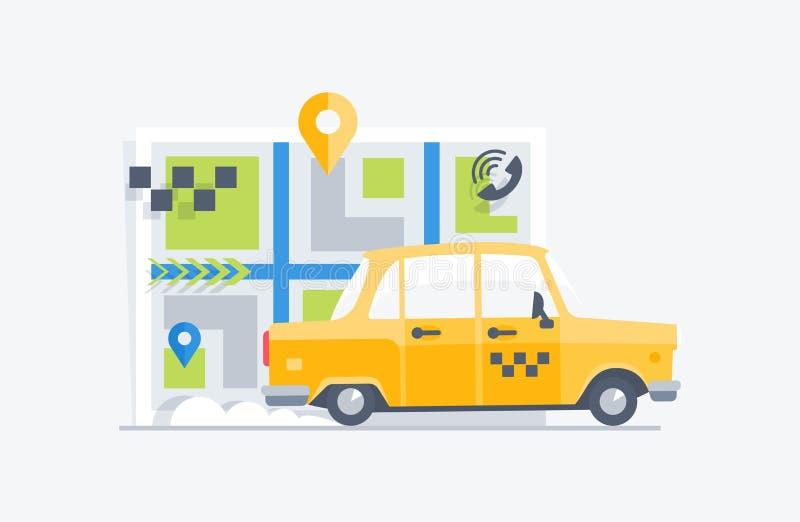 Autotaxi op de kaartachtergrond stock illustratie