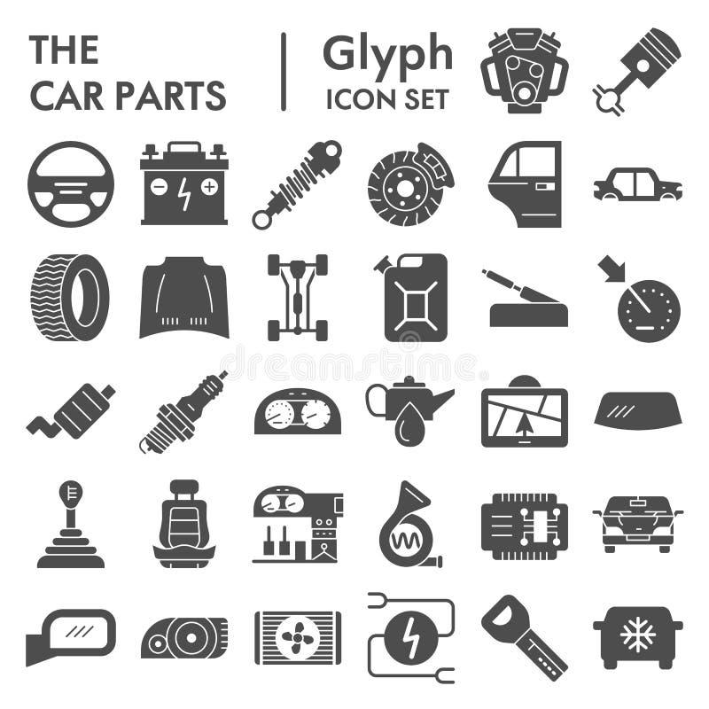 Autoteile Glyph-Ikonensatz, Automobilsymbole Sammlung, Vektorskizzen, Logoillustrationen, Fahrzeugzeichenkörper lizenzfreie abbildung