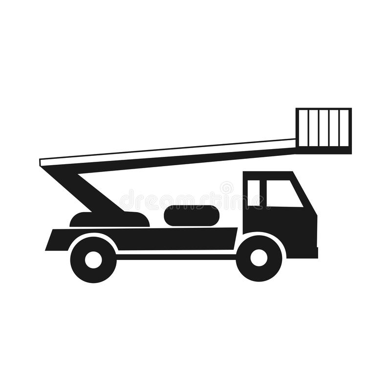Autotower black icon. mobile aerial tower. Boom Trucks. Isolated on a white background royalty free illustration