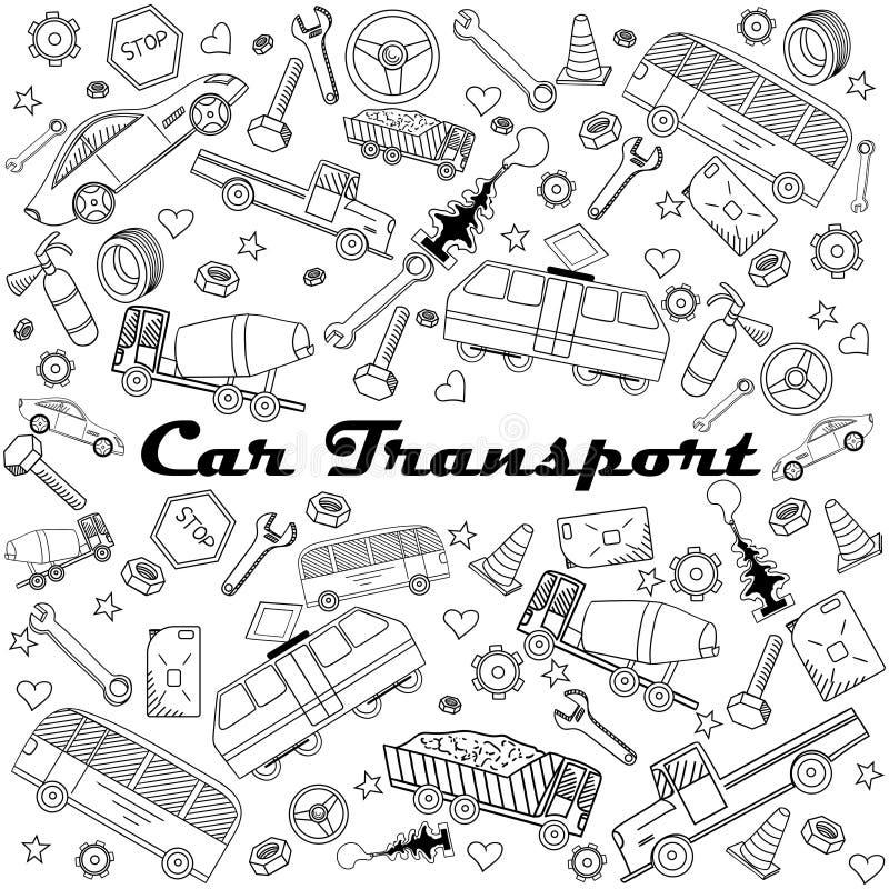 Autotransportlinie Kunstdesignvektorillustration lizenzfreie abbildung