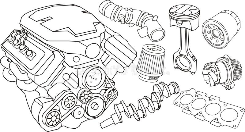 AutoTriebwerk-Teile stock abbildung
