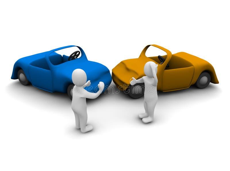 Autounfall stock abbildung. Illustration von streit, männer - 10097560