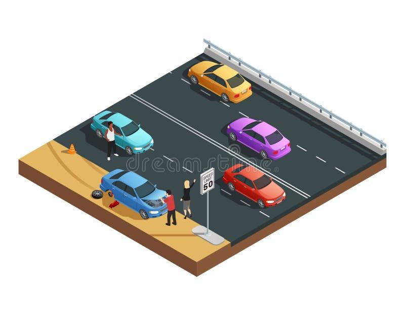 Autounfall-Zusammensetzung lizenzfreie abbildung