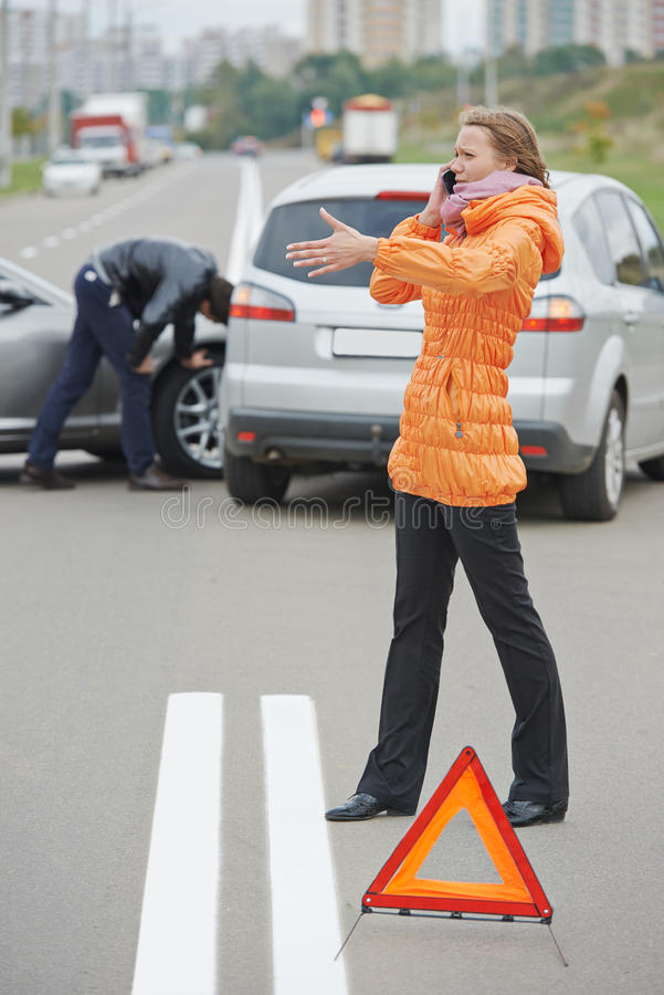 Autounfallzusammenstoß stockfotografie