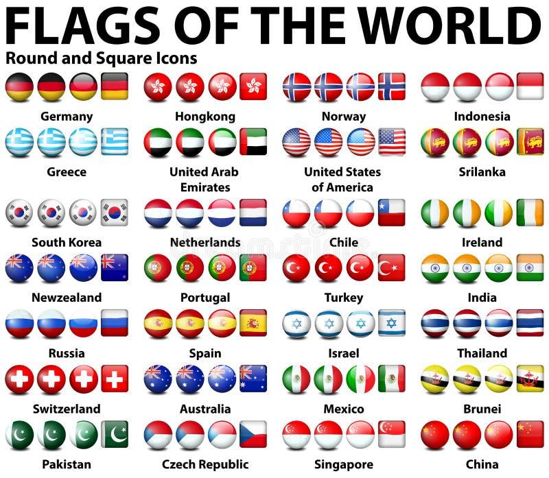 Autour de et icônes carrées des drapeaux du monde illustration de vecteur