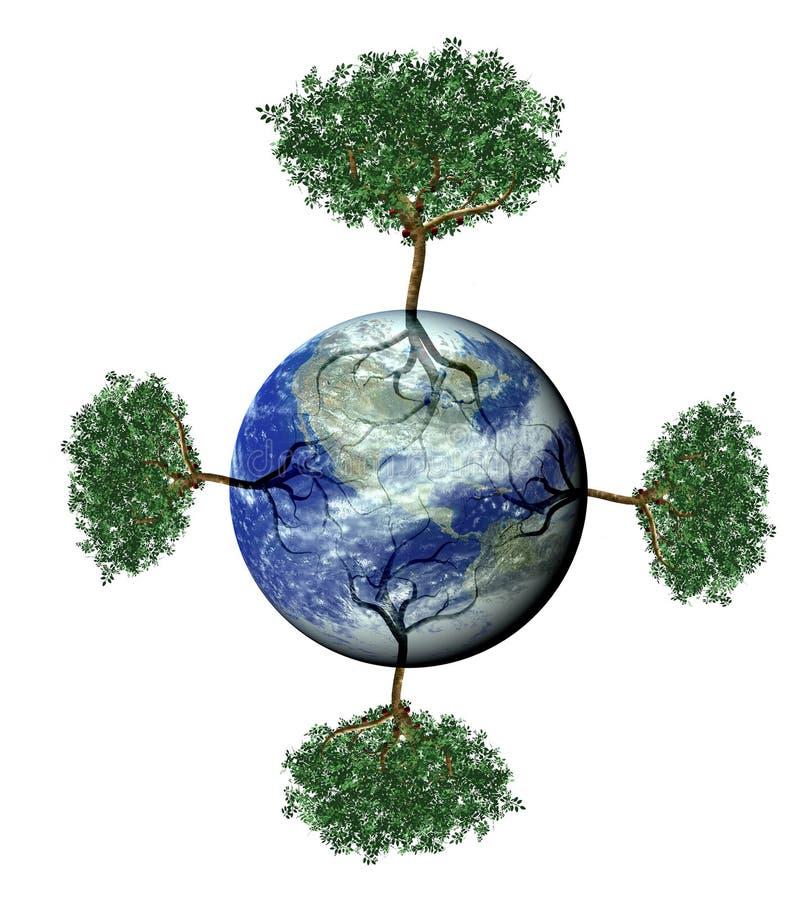 autour de l'arbre de centrale de la terre illustration de vecteur
