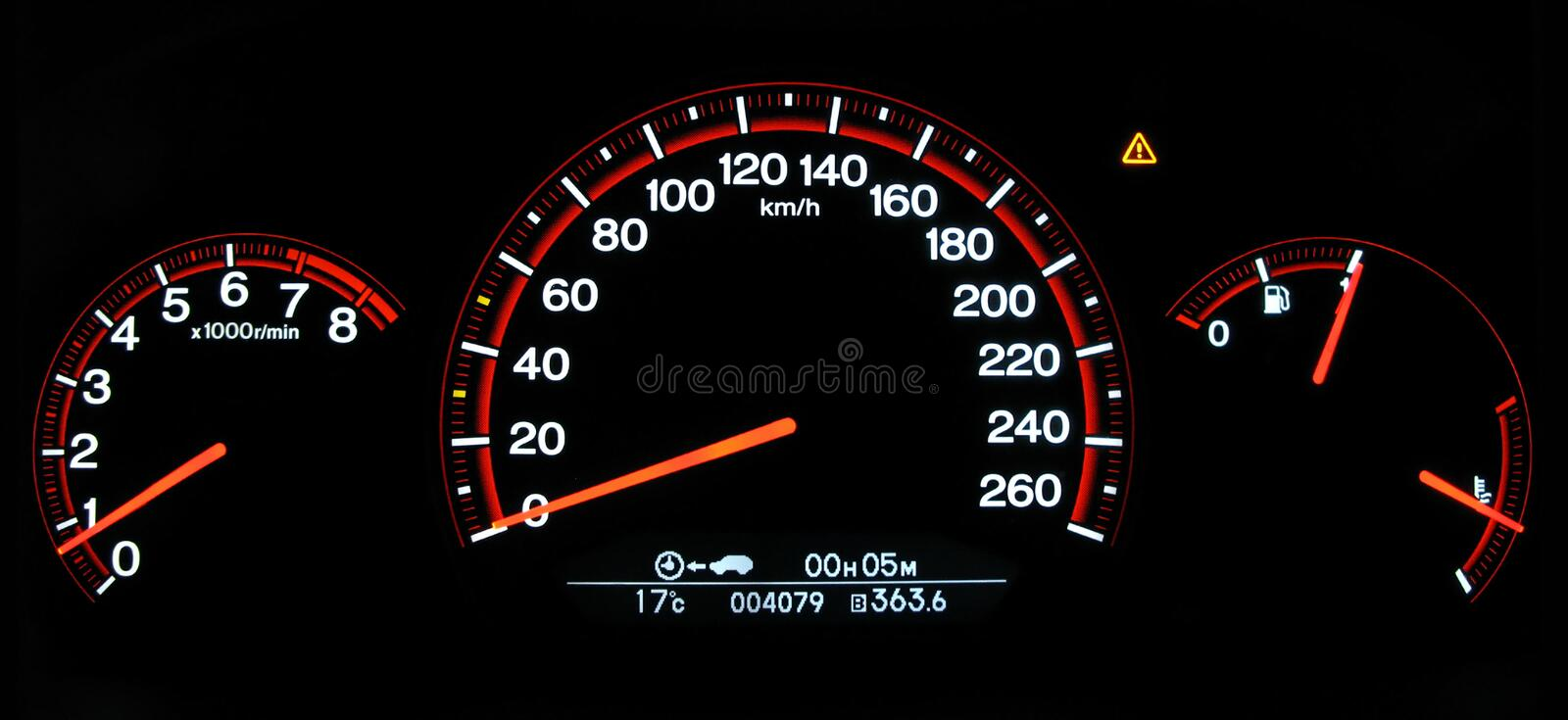 Autovehicle gauges. Complete set of gauges from an autovehicle (Honda Accord 2007) dashboard: tachometer, speed-o-meter in km/h, fuel tank level and engine royalty free stock photography