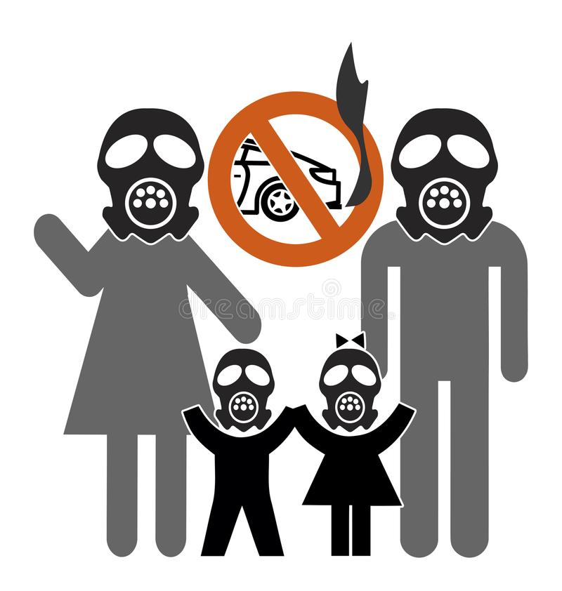 Autoverbod om luchtvervuiling in bedwang te houden vector illustratie