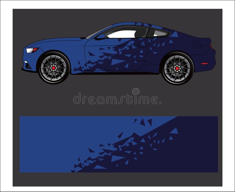 Autoverpackungsabziehbild Abstrakter Streifen für Rennwagenverpackung, -aufkleber und -abziehbild stock abbildung
