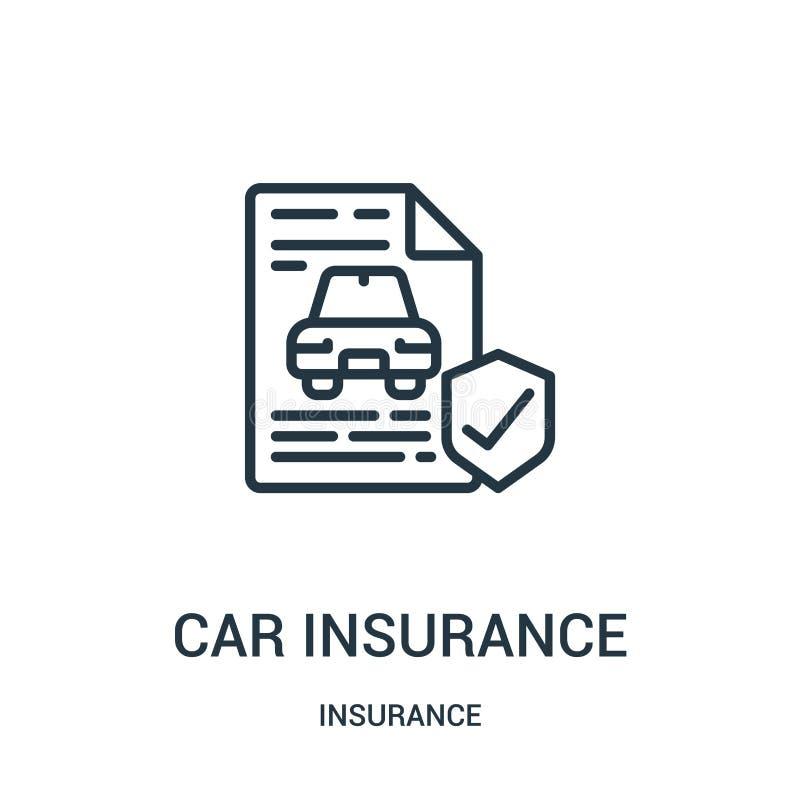 Autoversicherungs-Ikonenvektor von der Versicherungssammlung D?nne Linie Autoversicherungs-Entwurfsikonen-Vektorillustration Line lizenzfreie abbildung