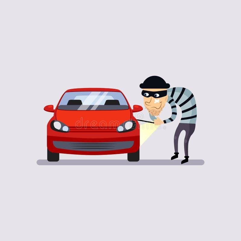 Autoverzekering en Diefstal Vectorillustratie royalty-vrije illustratie