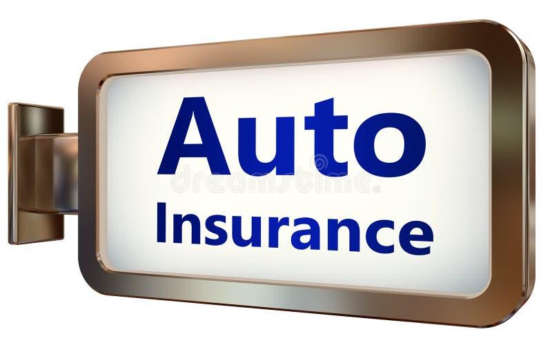 Autoverzekering op aanplakbordachtergrond stock illustratie