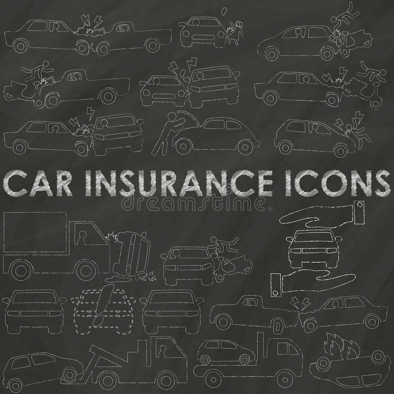 Autoverzekering op krijt vector illustratie