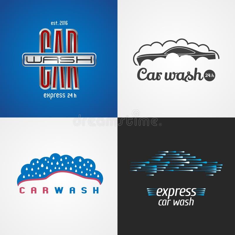 Autowäsche, Waschanlagesatz des Vektorlogos, Ikone, Symbol, Emblem, Zeichen lizenzfreie abbildung
