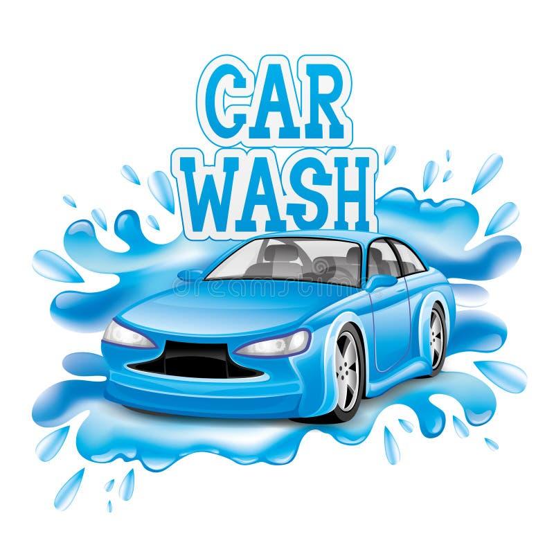 Autowashington-saubere Maschine, Autowäsche mit Schwamm und Schlauch stock abbildung