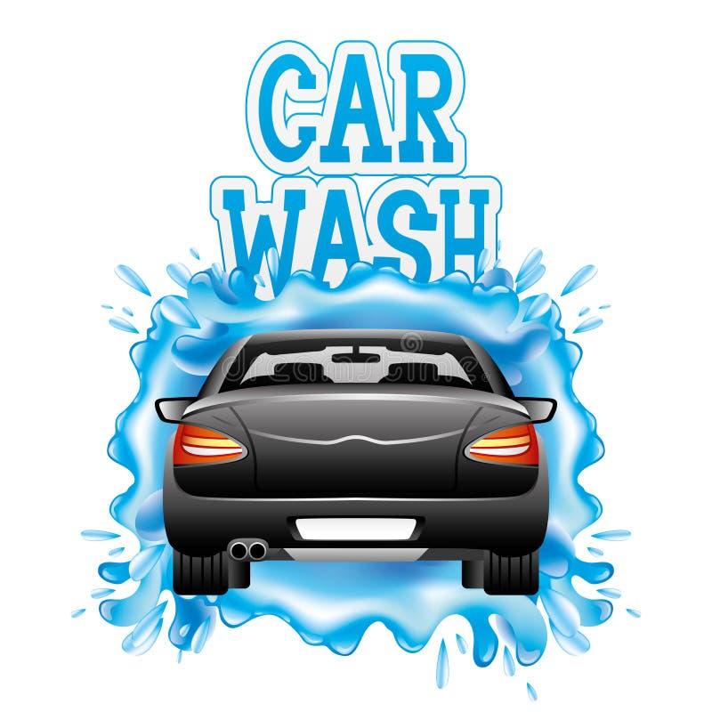 Autowashington-saubere Maschine, Autowäsche mit Schwamm und Schlauch lizenzfreie abbildung