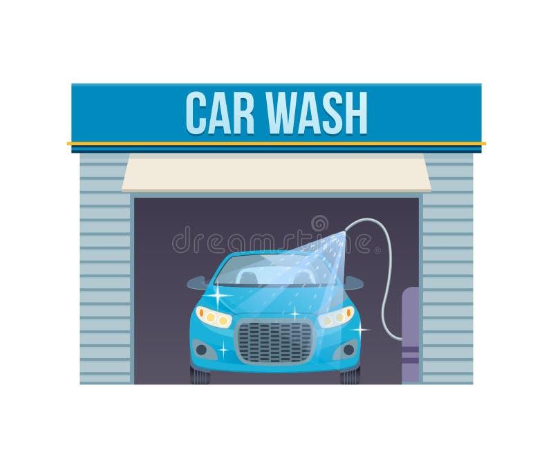 Autowashington-saubere Maschine, Autowäsche mit Schwamm und Schlauch Waschender Service-Center des Autos voll, Selbstkundendienst vektor abbildung