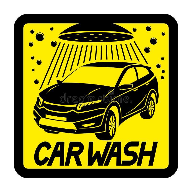 Autowasserette geel teken royalty-vrije illustratie