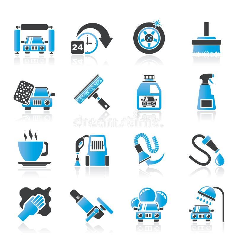 Autowasserettevoorwerpen en pictogrammen stock illustratie