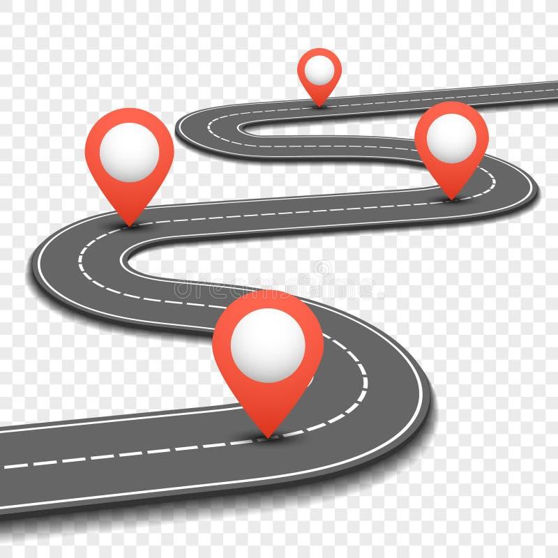 Autoweg, straat, het ontwerp vectormalplaatje weg van bedrijfswegenkaartinfographics royalty-vrije illustratie
