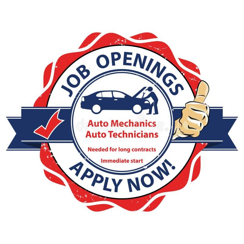 Autowerktuigkundigen en en autotechnici nodig voor lange contracten Direct begin stock illustratie