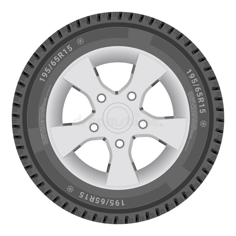 Autowiel, Cartire op een Witte Achtergrond Vector illustratie vector illustratie