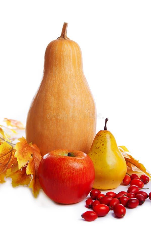 Autum收获水果和蔬菜与黄色叶子 免版税库存图片