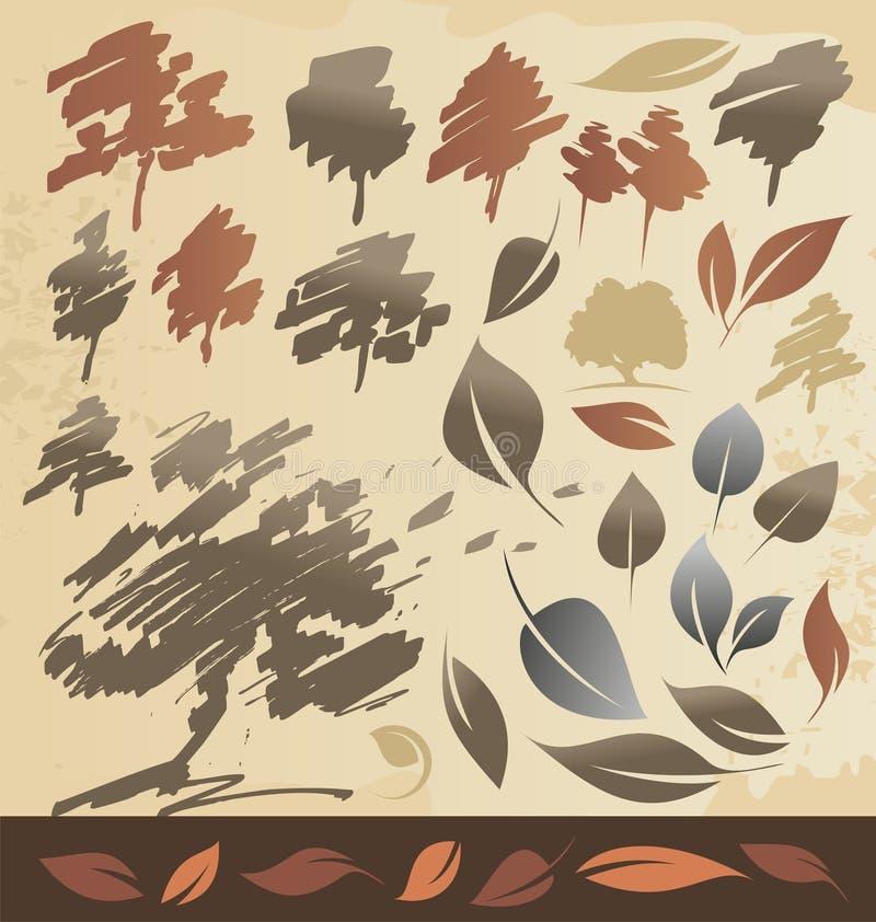 Autum结构树和叶子 皇族释放例证