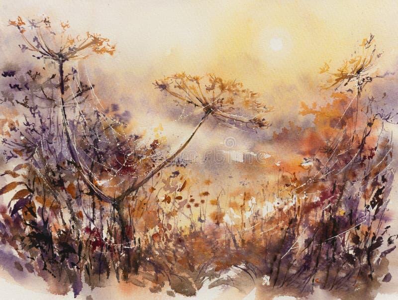 Autum blom- naturbakgrund royaltyfri illustrationer