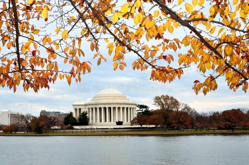 autum dc杰斐逊纪念托马斯・华盛顿 免版税库存照片