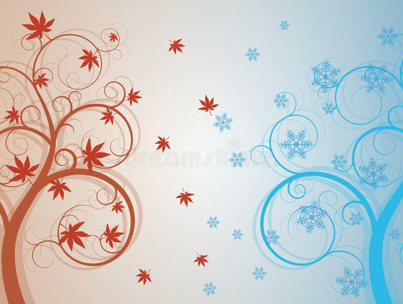 Autum e árvore do inverno ilustração stock
