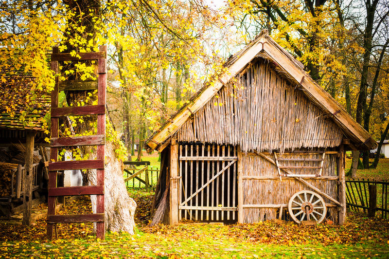 Autum house. Autum old popular house, village look stock images