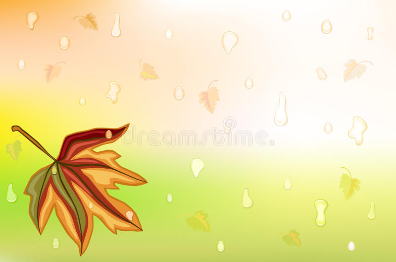 Autum rain and golden leaf. Autumn background wit golden leaf and drops of rain. Vector illustration saved as EPS AI8 is now pending inspection stock illustration