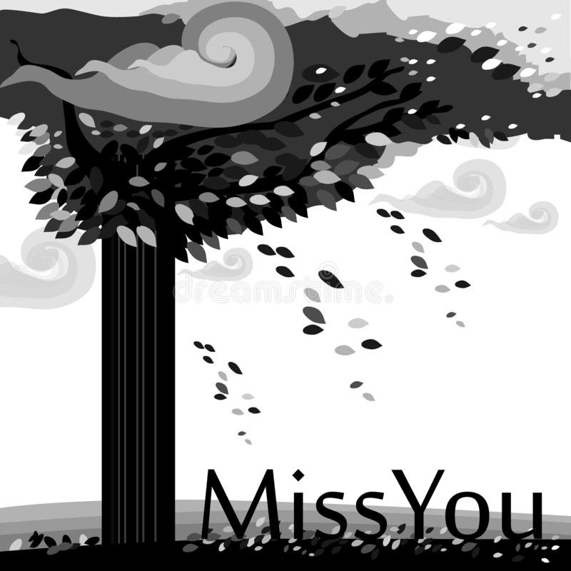 Autum Tree falling leaves miss you black and white illustration vector stock illustration