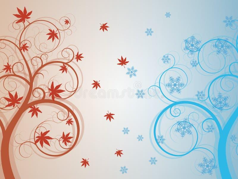 Autum y árbol del invierno stock de ilustración