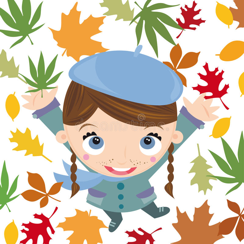 Autumn. Illustration of young girl with autumn scenery vector illustration