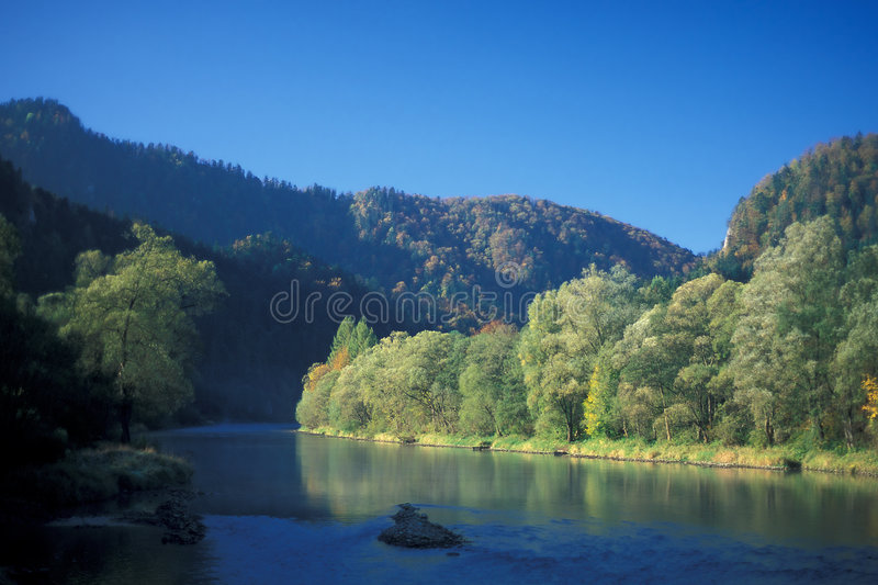 Autumn. In Dunajek valley, Pieniny Mountains, Poland royalty free stock images